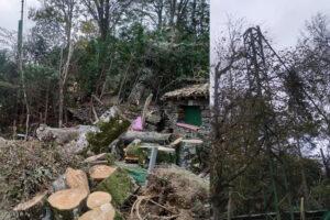 Graves destrozos en las redes de Echalar a causa del muy fuerte viento sur